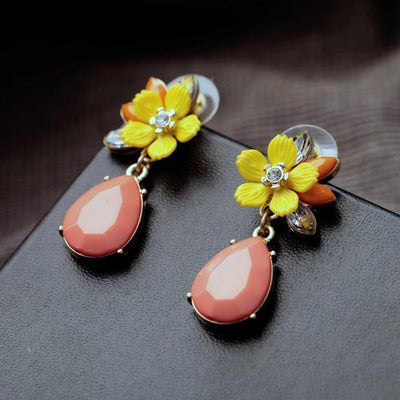 Floral Peach Drop Earrings