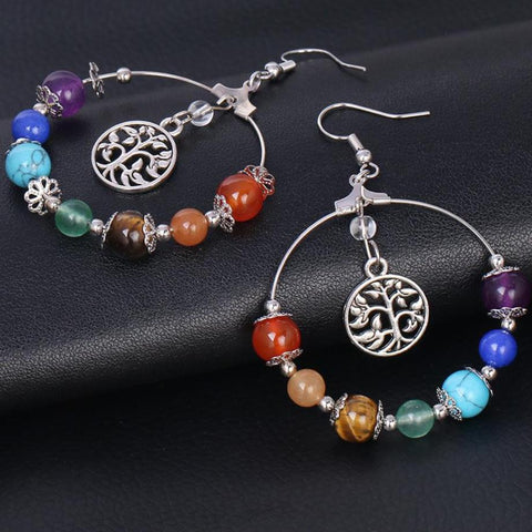 Tree of Life Chakra Hoop Earrings
