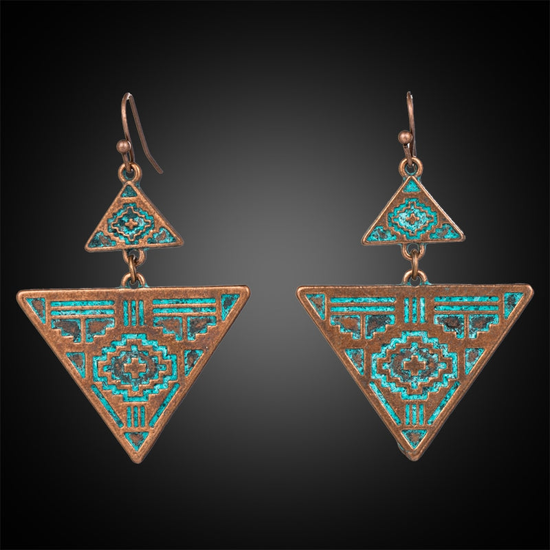 aztec triangle drop earrings