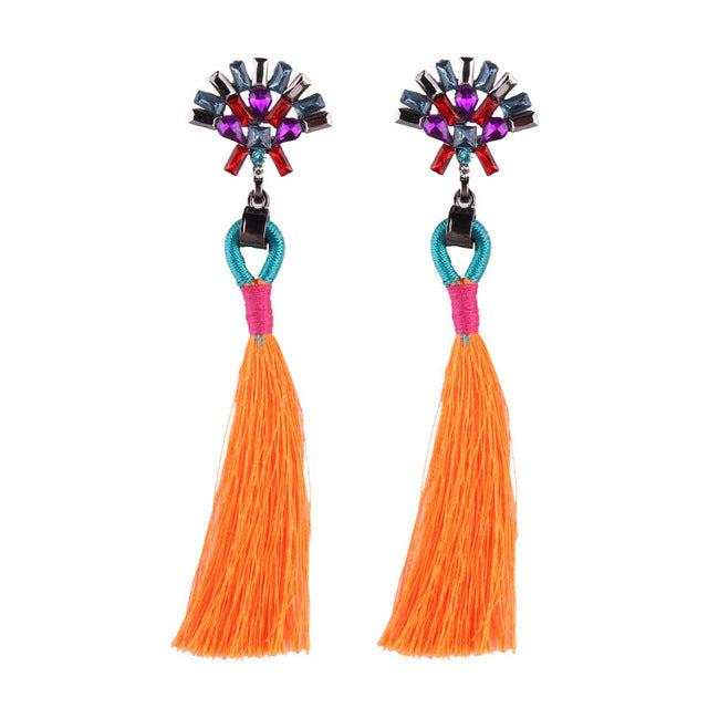 Boho Colourburst Tassel Earrings