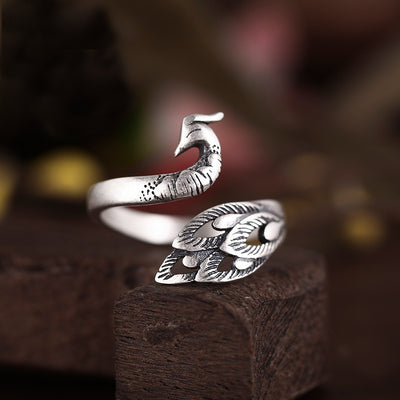 Spirited Peacock Ring - Adjustable