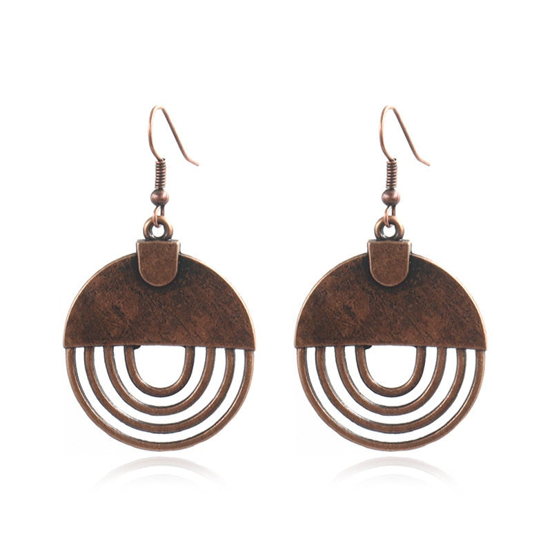 Copper Shield Drop Earrings