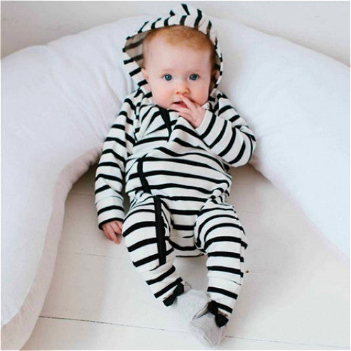 Striped Hooded Jumpsuit
