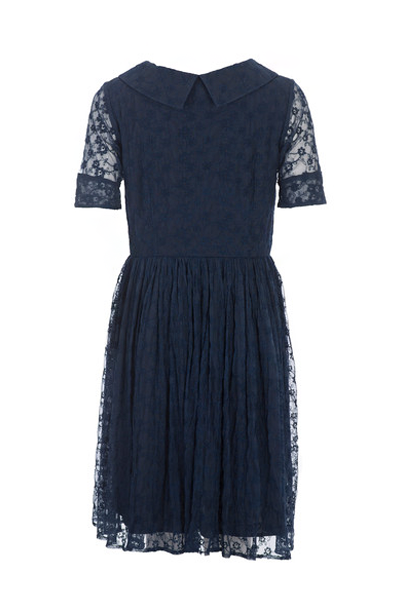 KOROVILAS 'Immanuela' Embroidered Shirtdress, Navy