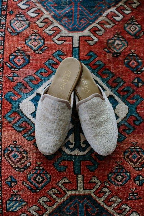 Pearl White Velvet Slipper for Her