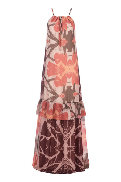 KOROVILAS 'Delfina' Mixed Print Maxi, Orange Floral