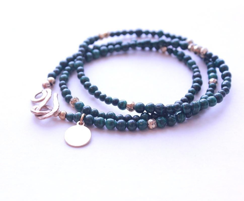 Malachite Wrap Bracelet & Necklace
