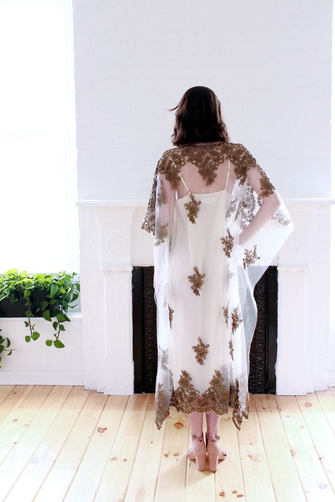 Brass Embroidered Kaftan Gown