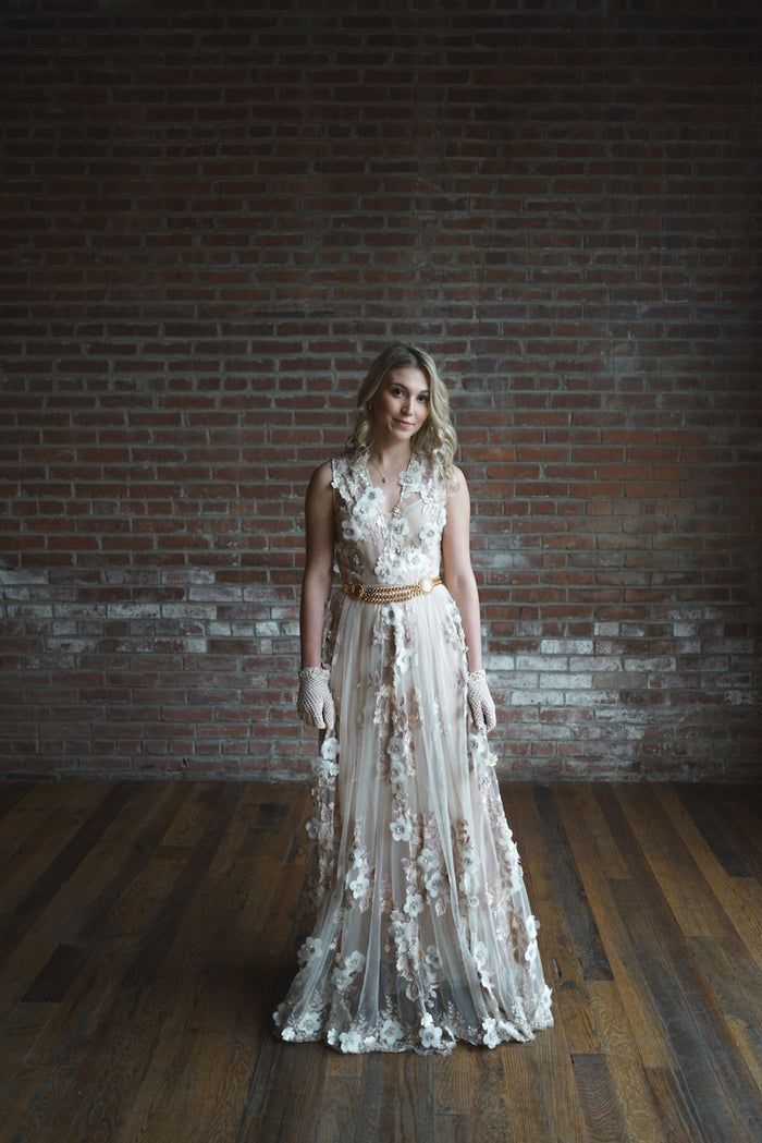 Blush Floral Appliqué Gown