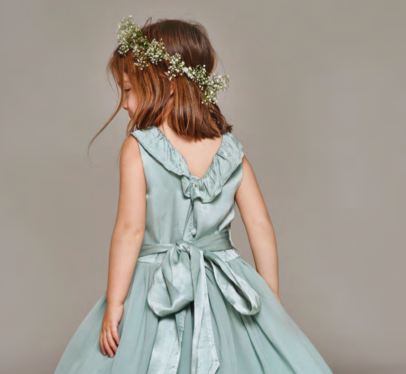 White Flower Girl Dress with Collar