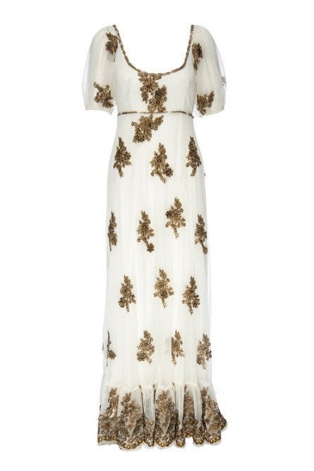 Brass Embroidered Gown with Train