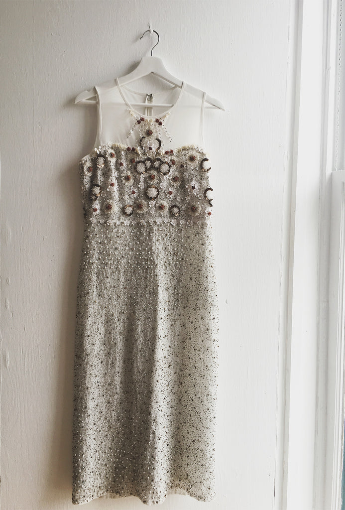 Ivory Hand-Beaded Midi Gown
