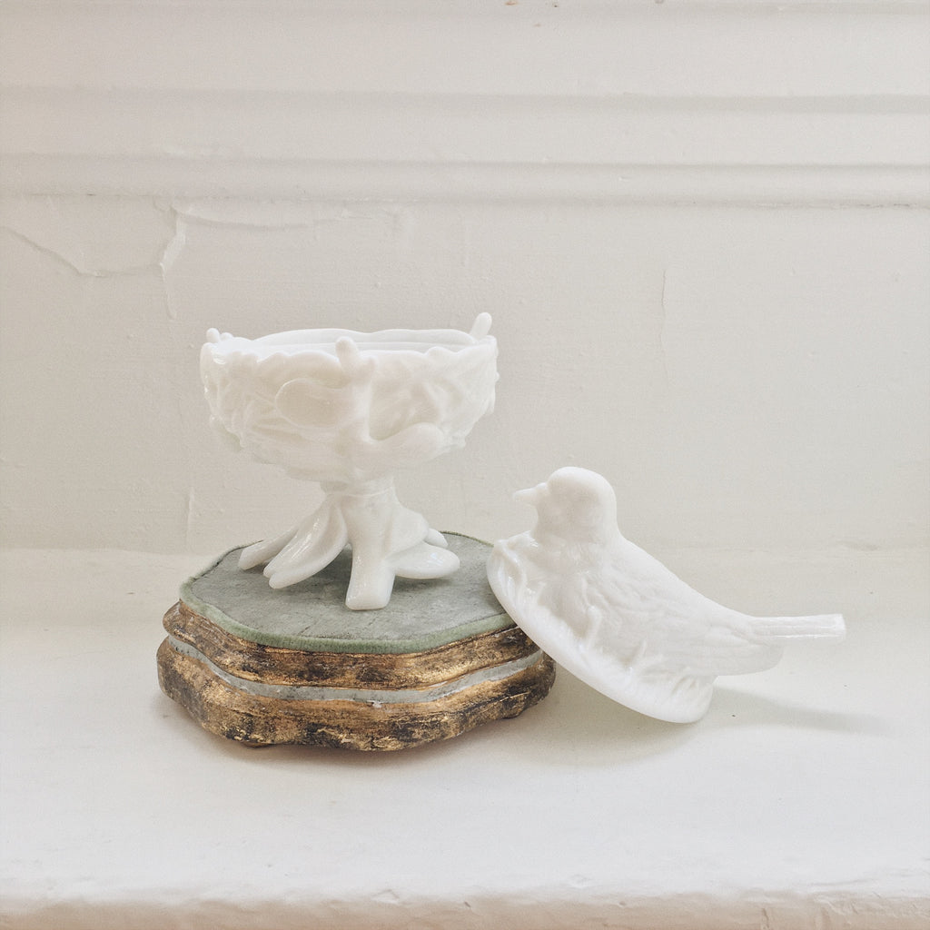Dove Milk Glass Dish