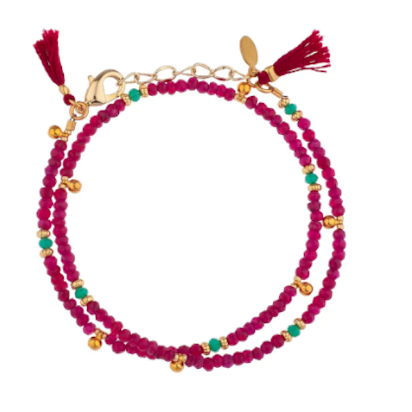 Eliza Gemstone Wrap Bracelet // Ruby