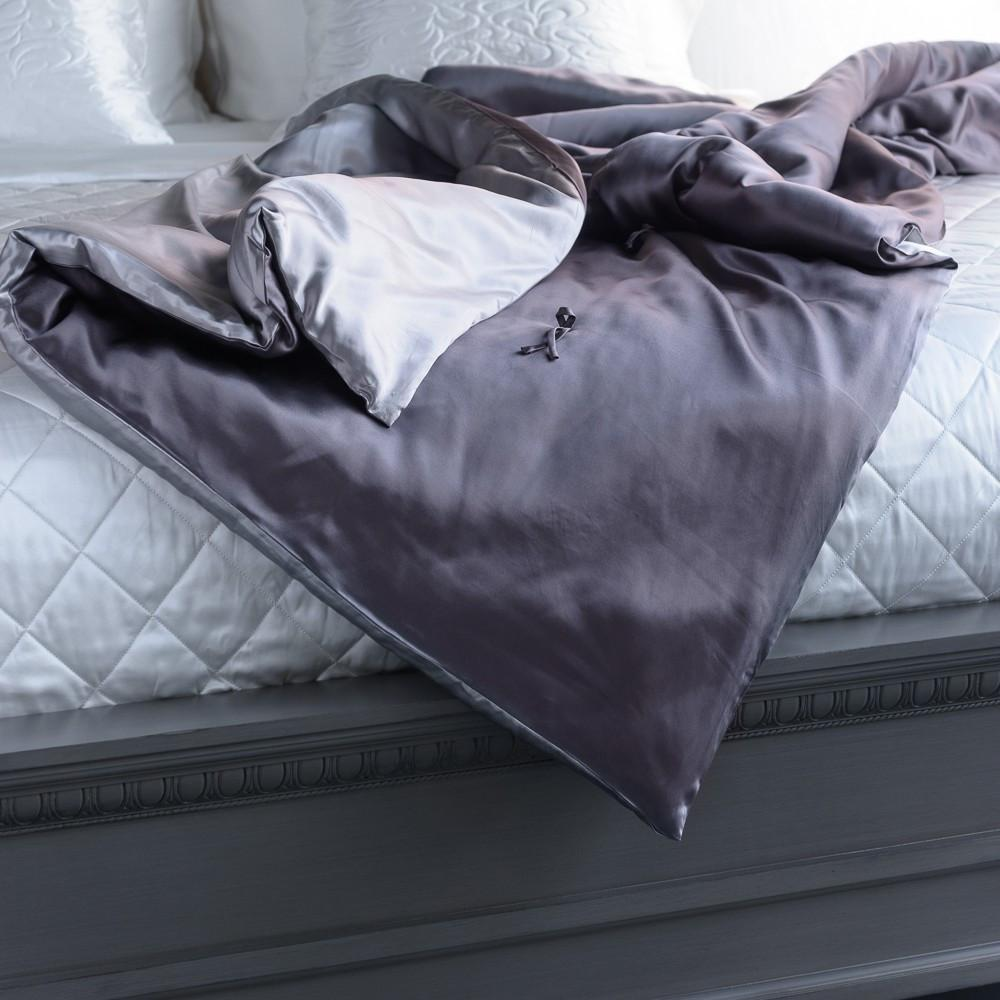 MANITO Silk Throw Blanket, Charcoal