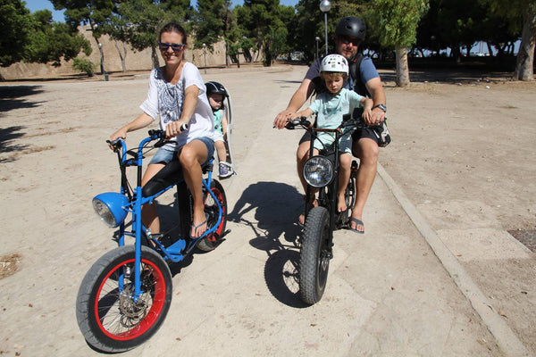 Electric bike for families and child transport- Uni Moke- Vintage moped style electric bike