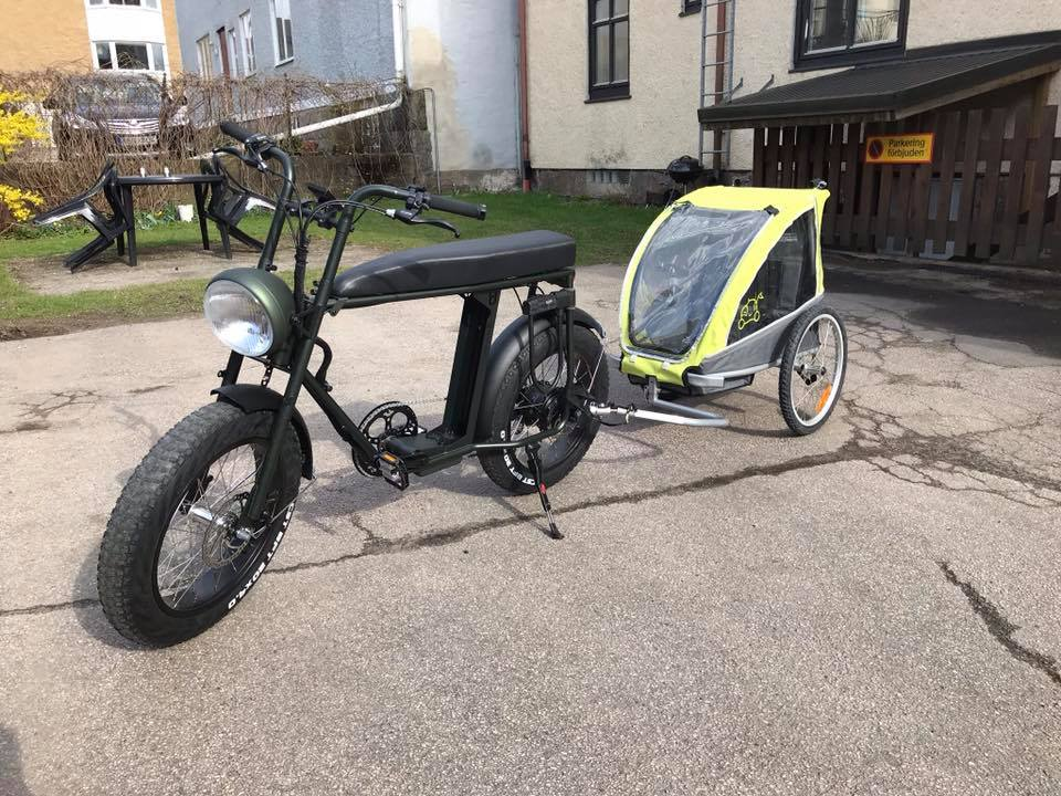 Uni Moke cool vintage style electric bike with child trailer