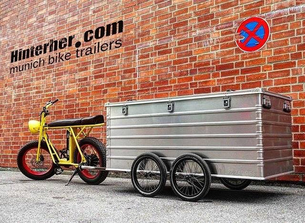 Uni moke electric cargo bike with heavy duty transport trailer
