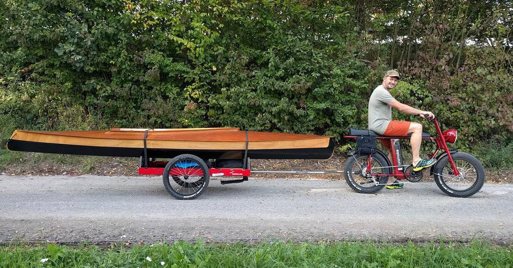 Cool power e-bike with bike trailer for heavy loads