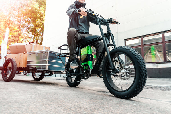 Electric utility cargo bike with trailer, Uni Moke urban electric bike