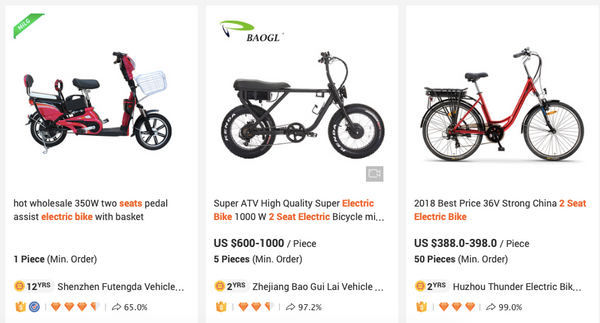 Cheap Uni Moke/ Super 73 electric bike copy on Alibaba