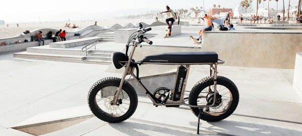 Coole fat electric bikes California, Santa Monica bike shop, Super 73