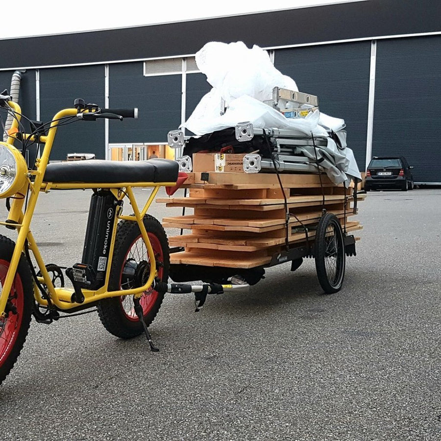 e-bike trailer hinterher.com cargo bicycle trailer utility cargo bike Uni Moke / Swing