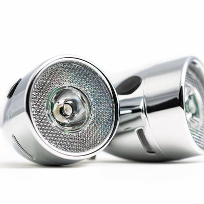 Vintage LED Battery Chrome Front Light for Bicycles AAA
