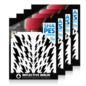 Reflective SHAPES Pack of 4, Blitze, schwarz