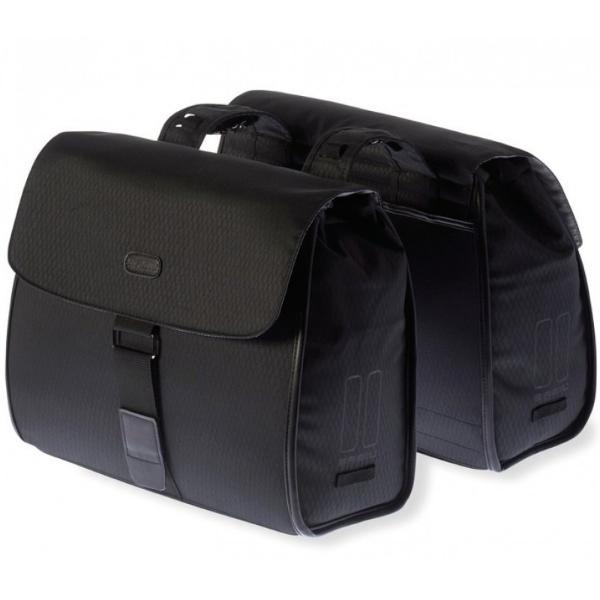 Basil Noir Double Vintage Pannier Bag for Bicycles