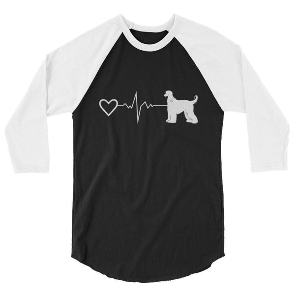 Afghan Heartbeat Design - Baseball Shirt Black/white / Xs