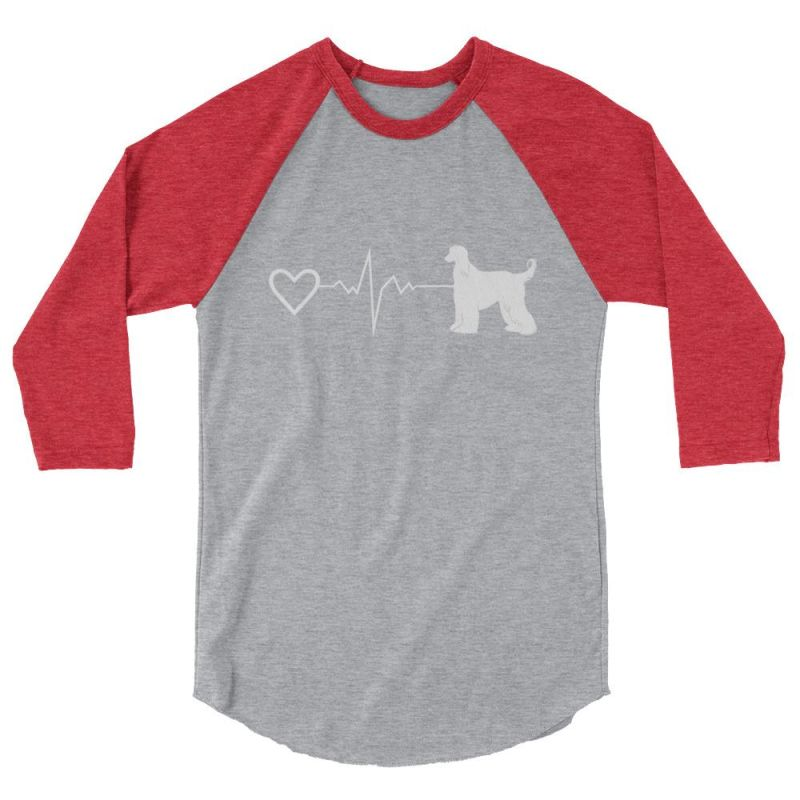 Afghan Heartbeat Design - Baseball Shirt Heather Grey/heather Red / Xs