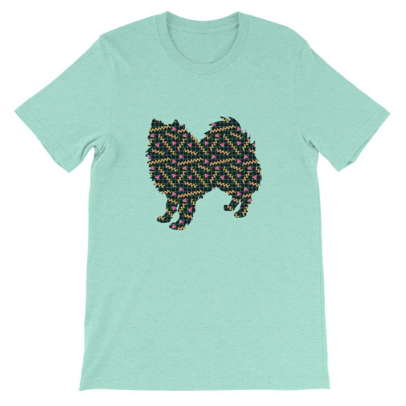 American Eskimo Dog - 80's Pattern Short-Sleeve Unisex T-Shirt Heather Mint / S