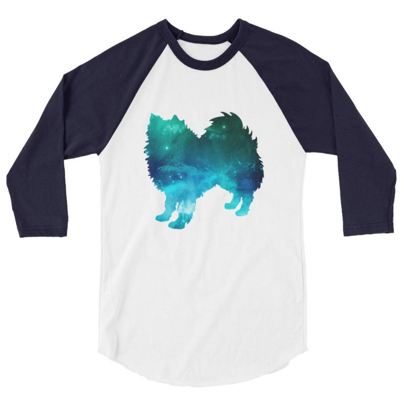 American Eskimo Dog - Galaxy Design Baseball Shirt White/navy / Xs