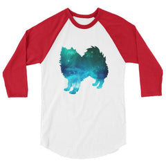 American Eskimo Dog - Galaxy Design Baseball Shirt White/red / Xs