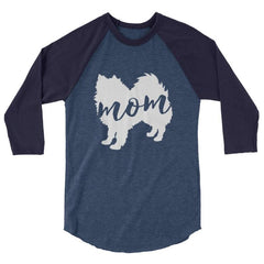 American Eskimo Dog Mom - Baseball Shirt Heather Denim/navy / Xs