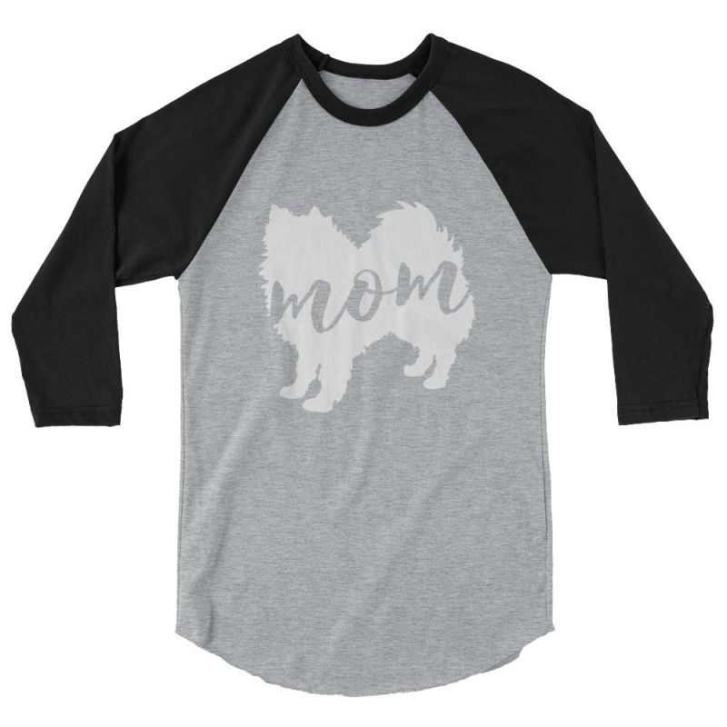 American Eskimo Dog Mom - Baseball Shirt Heather Grey/black / Xs