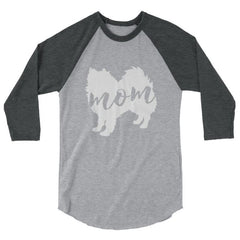American Eskimo Dog Mom - Baseball Shirt Heather Grey/heather Charcoal / Xs