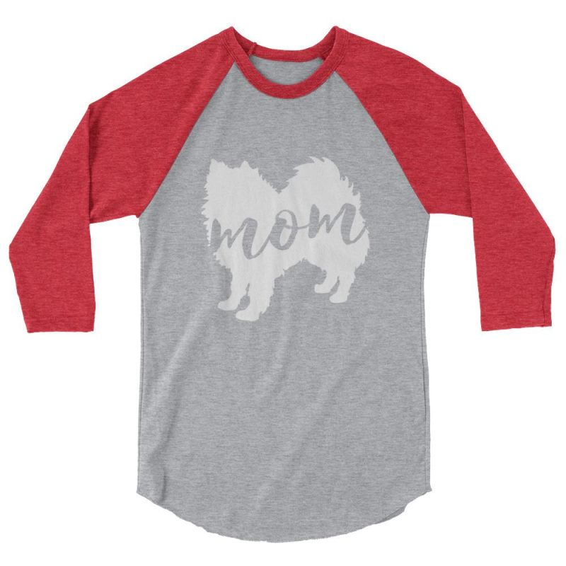 American Eskimo Dog Mom - Baseball Shirt Heather Grey/heather Red / Xs