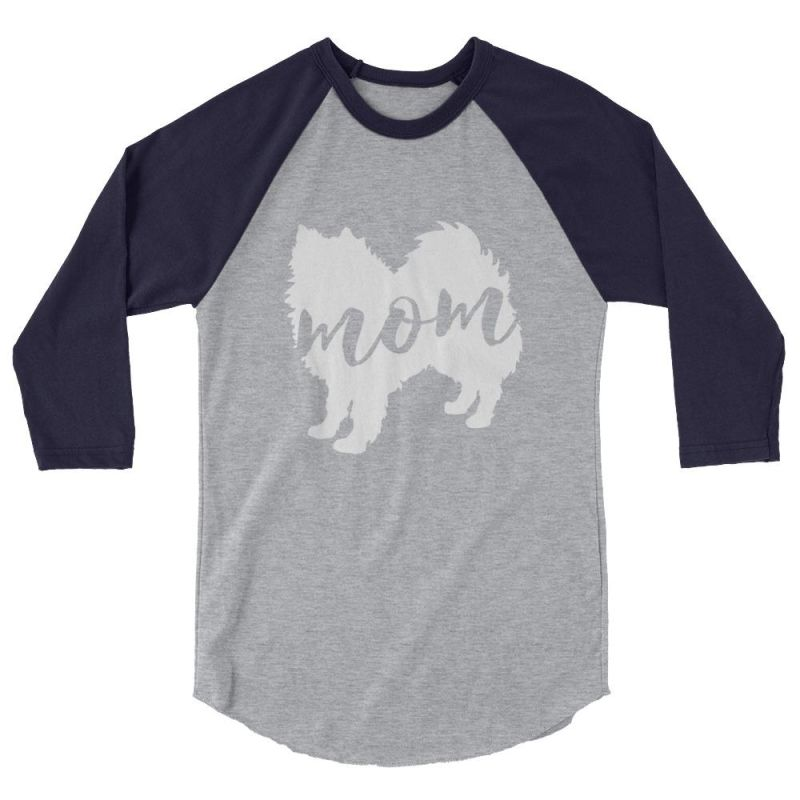 American Eskimo Dog Mom - Baseball Shirt Heather Grey/navy / Xs