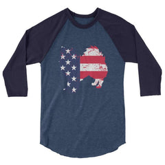 American Eskimo Dog - Patriotic Design - Baseball Shirt Heather Denim/navy / Xs
