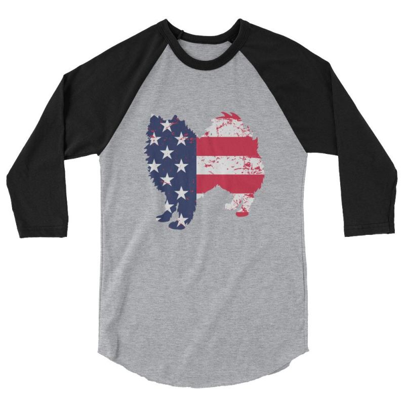 American Eskimo Dog - Patriotic Design - Baseball Shirt Heather Grey/black / Xs