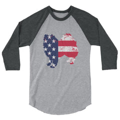 American Eskimo Dog - Patriotic Design - Baseball Shirt Heather Grey/heather Charcoal / Xs