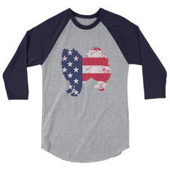 American Eskimo Dog - Patriotic Design - Baseball Shirt Heather Grey/navy / Xs