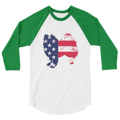 American Eskimo Dog - Patriotic Design - Baseball Shirt White/kelly / Xs