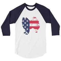 American Eskimo Dog - Patriotic Design - Baseball Shirt White/navy / Xs