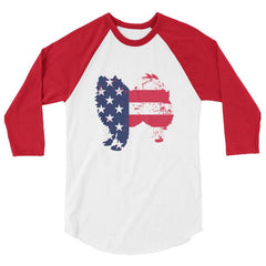 American Eskimo Dog - Patriotic Design - Baseball Shirt White/red / Xs