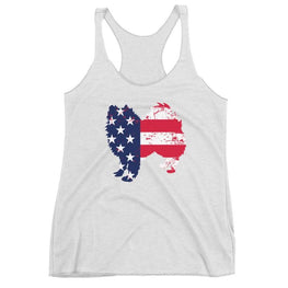 American Eskimo Dog - Patriotic Design - Womens Racerback Tank Heather White / Xs