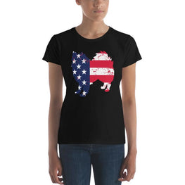 American Eskimo Dog - Patriotic Design - Womens Short Sleeve T-Shirt Black / S