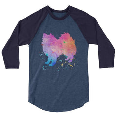 American Eskimo Dog - Watercolor Splatter Design Baseball Shirt Heather Denim/navy / Xs